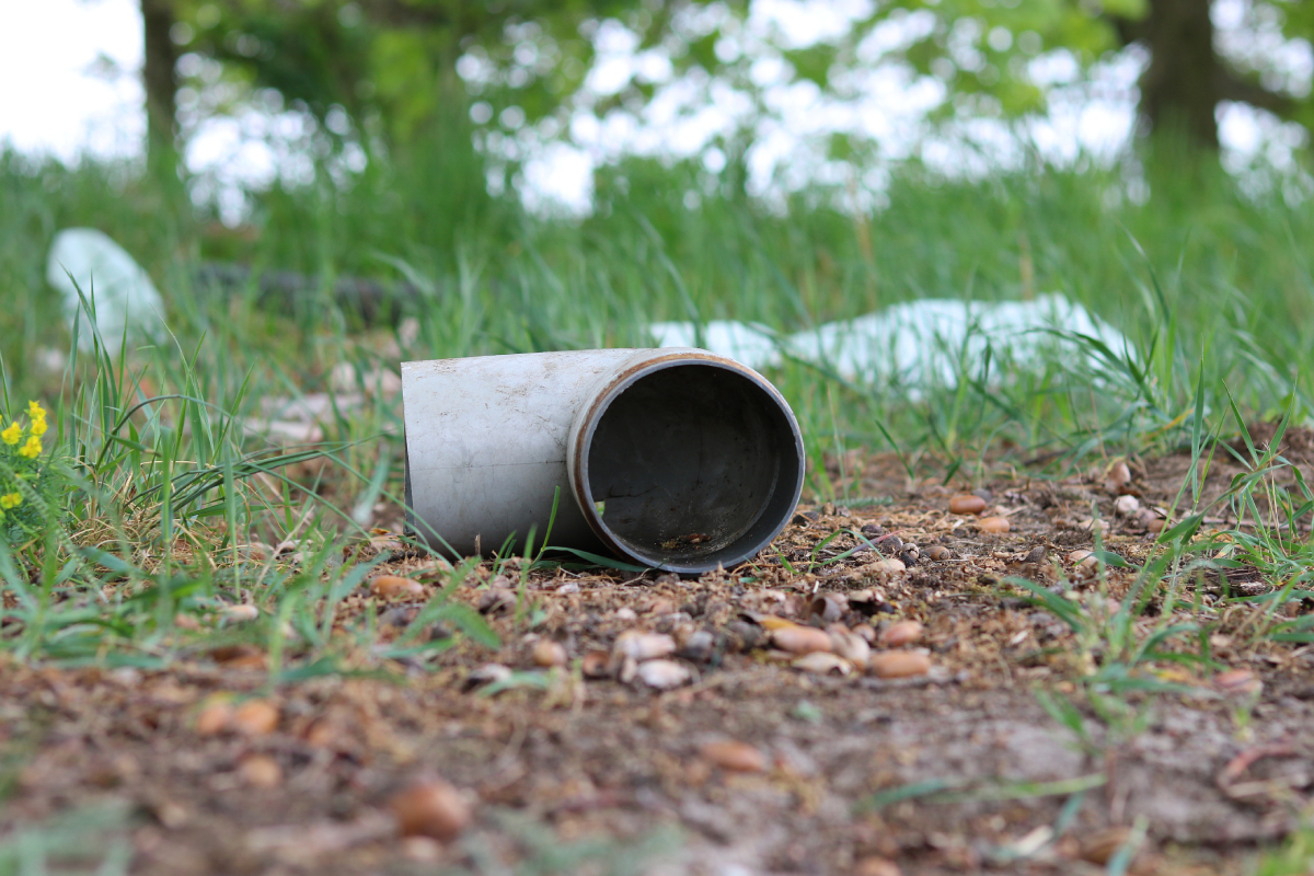 Discarded plastic pipe